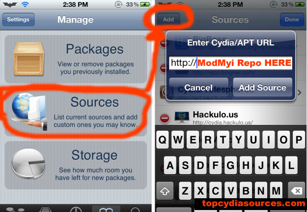 Add Cydia sources