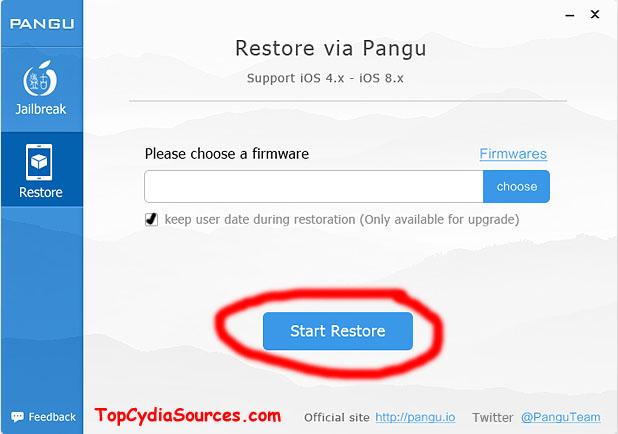 Retore iOS firmware Pangu jailbreak