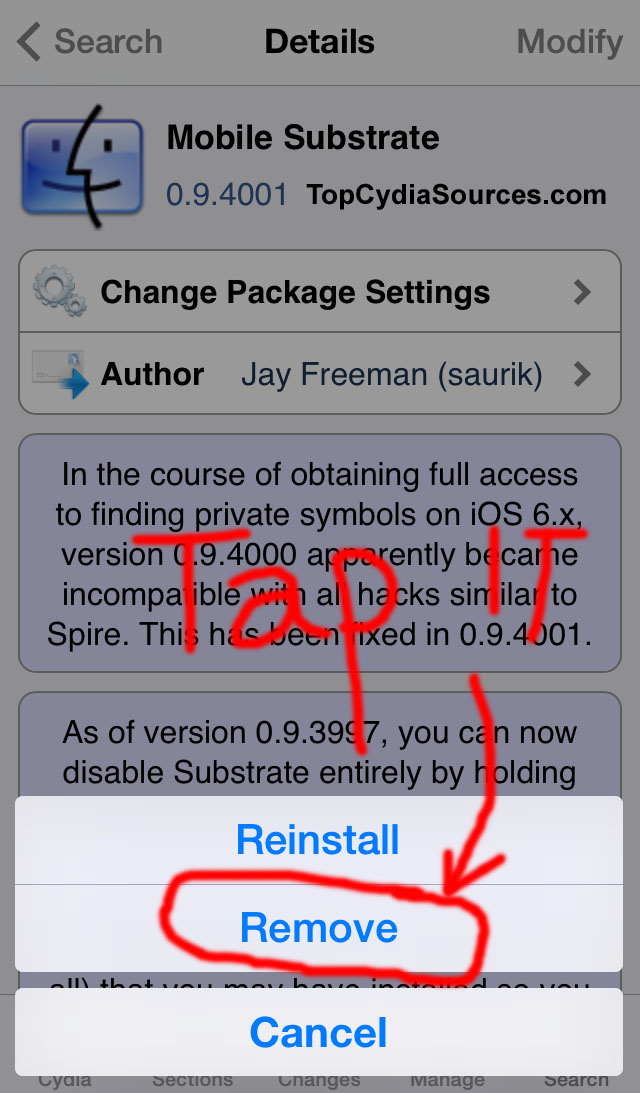 How to uninstall Cydia apps