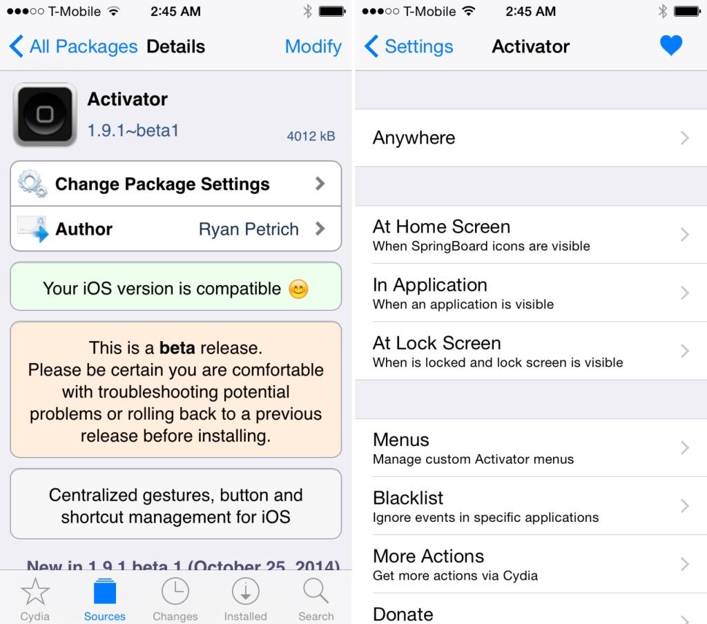 Activator iOS 8