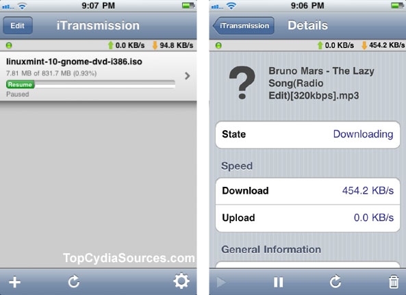 iTransmission Gives You Torrents on iPad | Top Cydia Sources