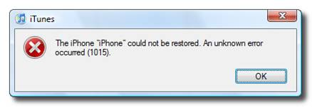 iTunes error 1015 for iPhone