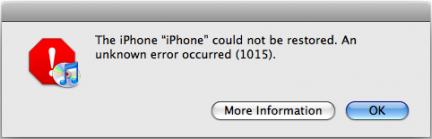 iTunes error code 1015